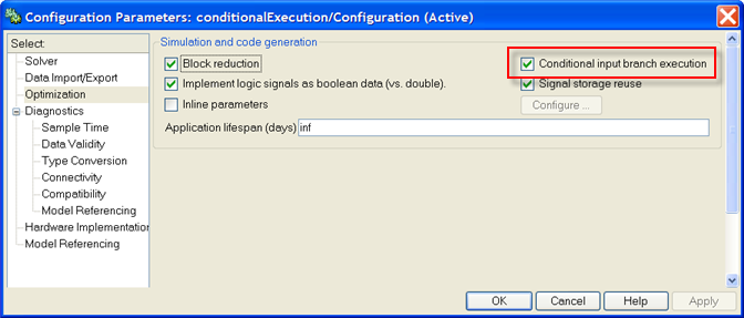 Simulation parameters dialog for configuring conditional input branch execution.