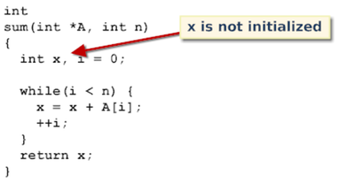 A function is shown which uses a variable x to hold the sum of an array. The variable