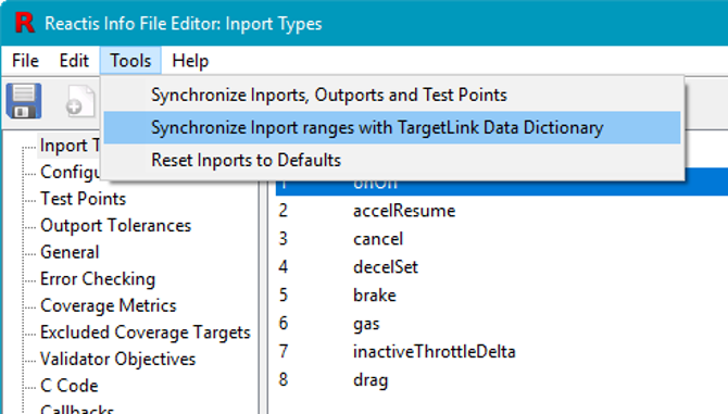 menu to import ranges from TargetLink Data Dictionary
